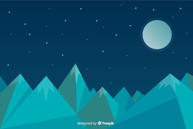 山の風景とフラットなデザインの背景