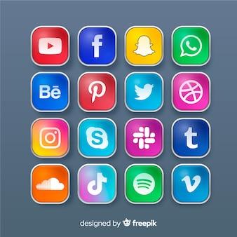 Реалистичная коллекция логотипов в социальных сетях