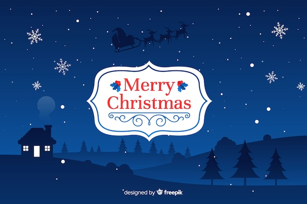 Плоский рождественский фон традиции