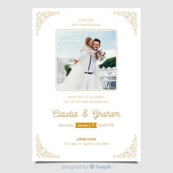 Красивый декоративный шаблон свадебного приглашения с фото