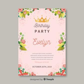 カラフルな花の誕生日の招待状のテンプレート