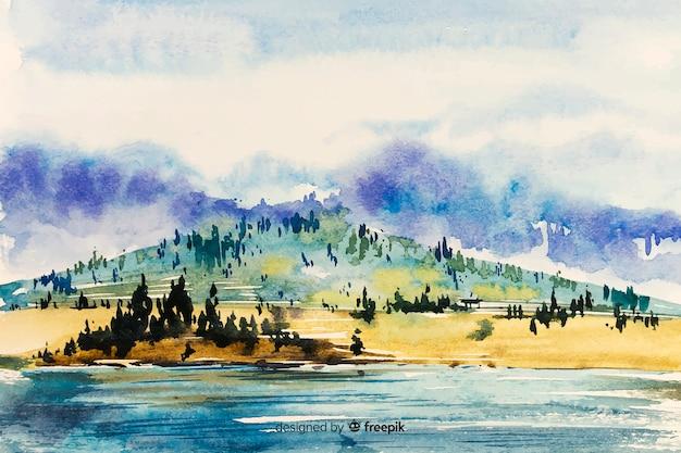 風景の抽象的な水彩画の背景