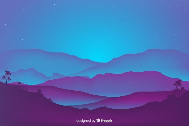 フラットなデザインの山の風景の背景