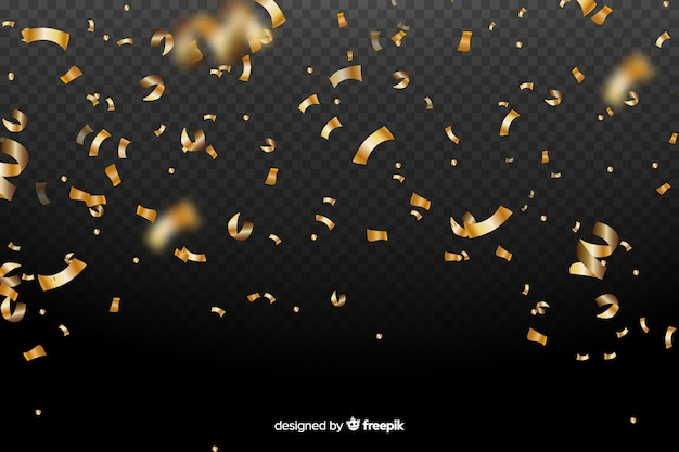 Реалистичная золотая конфетти фон