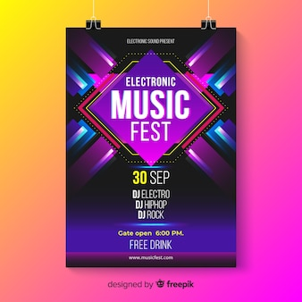 Шаблон плаката абстрактной электронной музыки