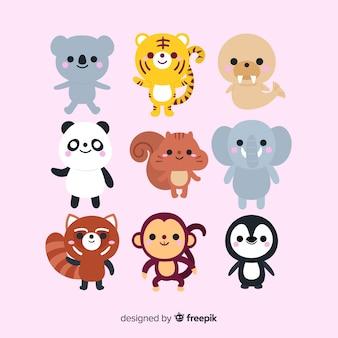 かわいい動物コレクションデザインを描く