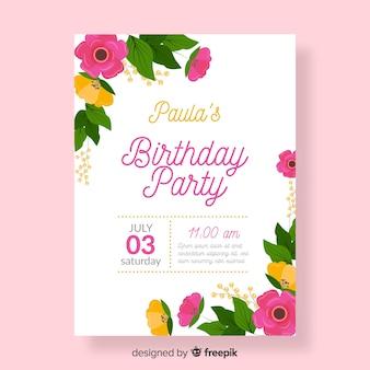 カラフルでフローラの誕生日の招待状のテンプレート