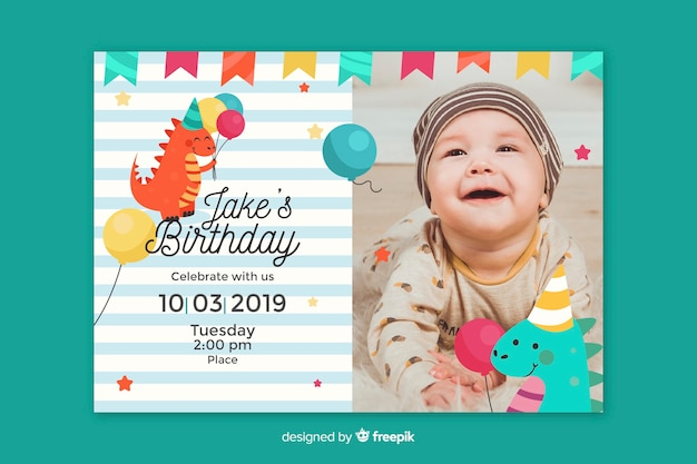 写真と赤ちゃん男の子の誕生日の招待状