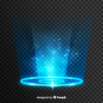 透明な背景に光のポータル効果