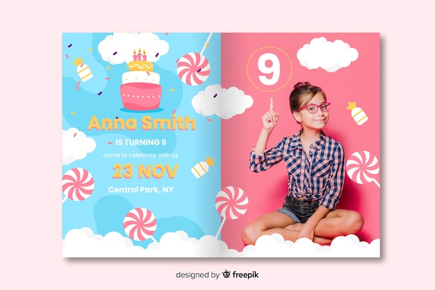 カラフルな誕生日の招待状のデザイン