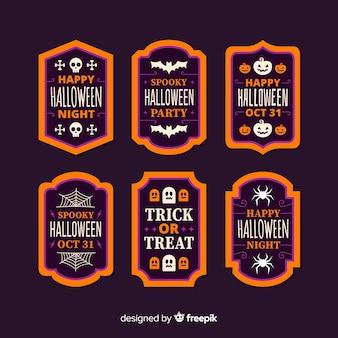 Плоский дизайн коллекции этикеток хэллоуин