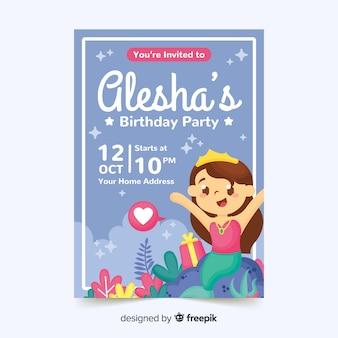 Детский шаблон приглашения дня рождения с русалкой