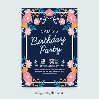 花の誕生日の招待状のコンセプト