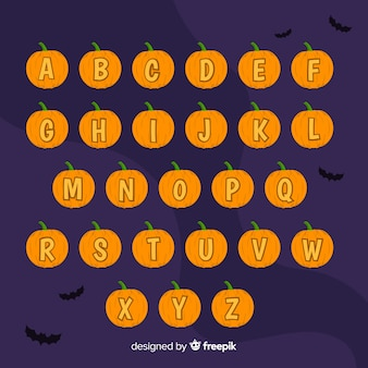 Хэллоуин тыква алфавит на ночь с летучими мышами
