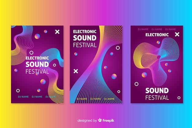 テンプレート抽象波電子音楽ポスター