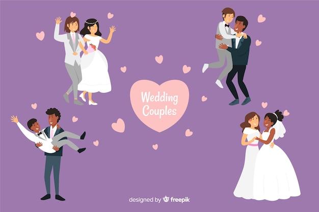 Набор плоских свадебных пар