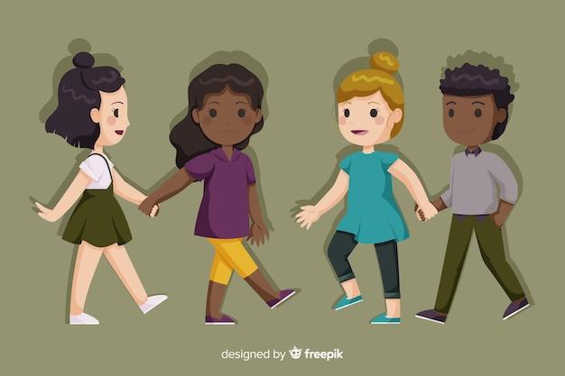 Молодые пары гуляют вместе