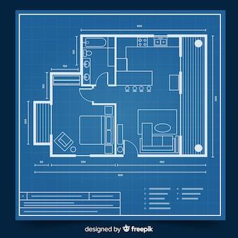 家のコンセプトのモダンな青写真