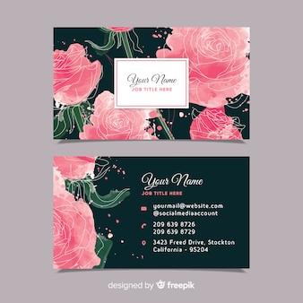 Цветочная акварель шаблон визитной карточки