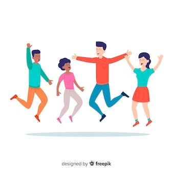 Коллекция молодых людей, улыбаясь и прыжки