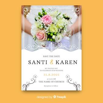Элегантное свадебное приглашение с фото