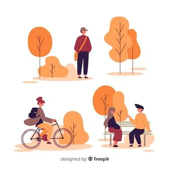 秋の公園と芸術的なイラスト
