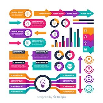 ビジネスインフォグラフィックのカラフルな図形パック