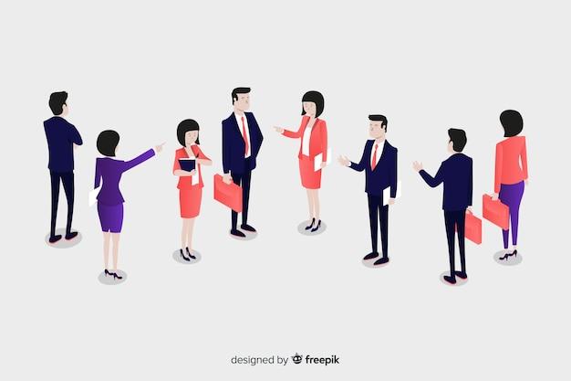 ビジネスアイソメ図スタイルについて話している人々