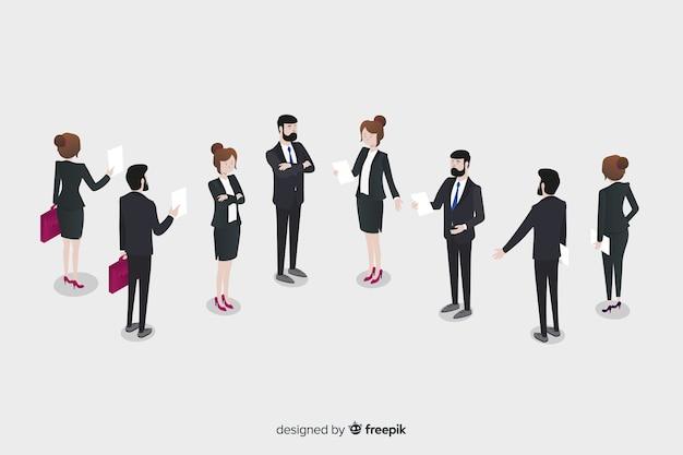 Изометрические деловые люди разговаривают вместе