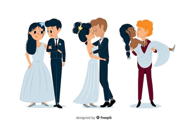 かわいい手描きの結婚式のカップルのパック