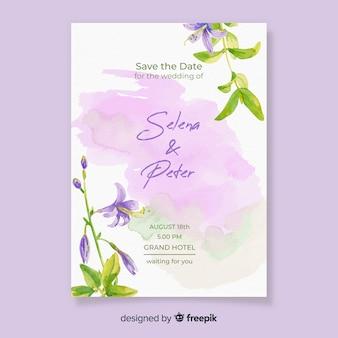 Акварельное свадебное приглашение с цветами