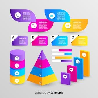 Стиль градиента коллекции геометрических элементов инфографики