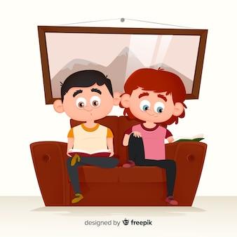 Молодые люди читают на диване