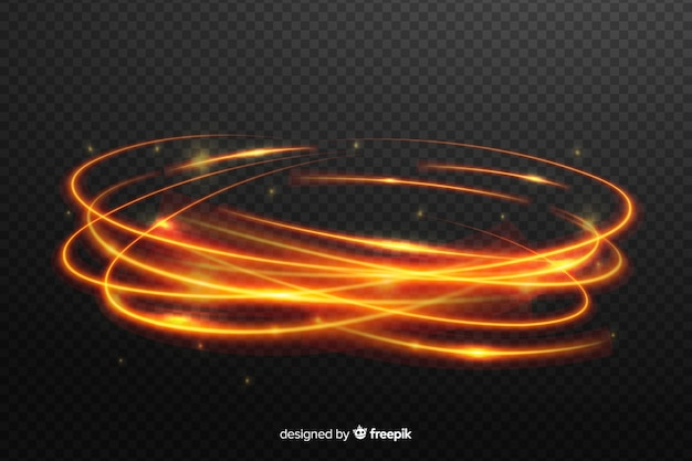 透明な背景を持つ明るい光旋回効果