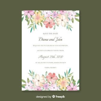 Довольно цветочные свадебные приглашения шаблон