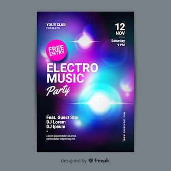 Абстрактный световой эффект музыкальный плакат шаблон