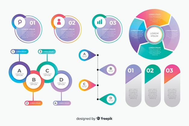 創造的なビジネスインフォグラフィック要素パック