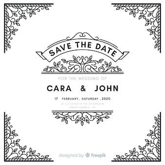 白い装飾的な結婚式の招待状