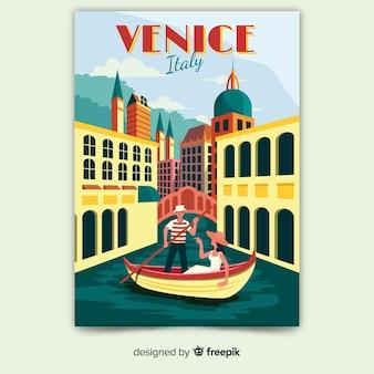 Ретро рекламный плакат шаблона венеции