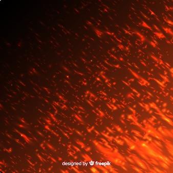 透明な背景に赤い火の効果