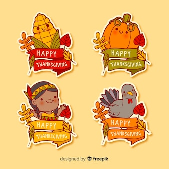 手描き感謝祭ラベルコレクション