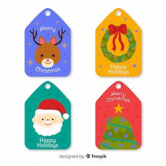 Нарисованная рукой рождественская коллекция значка