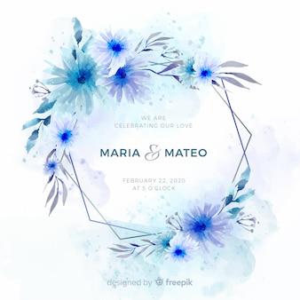 美しい水彩花のフレームの結婚式の招待状のテンプレート