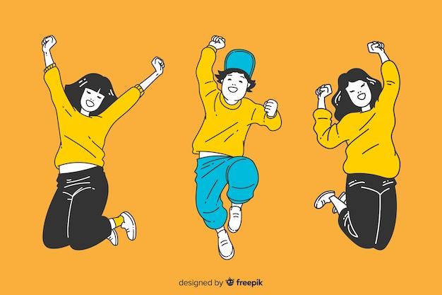 Молодые люди прыгают в корейском стиле рисования