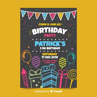 Детский шаблон приглашения на день рождения