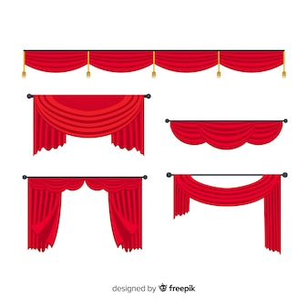 フラットなデザインの赤いカーテンコレクションデザイン