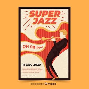 Ручной обращается абстрактный шаблон джаз-постер