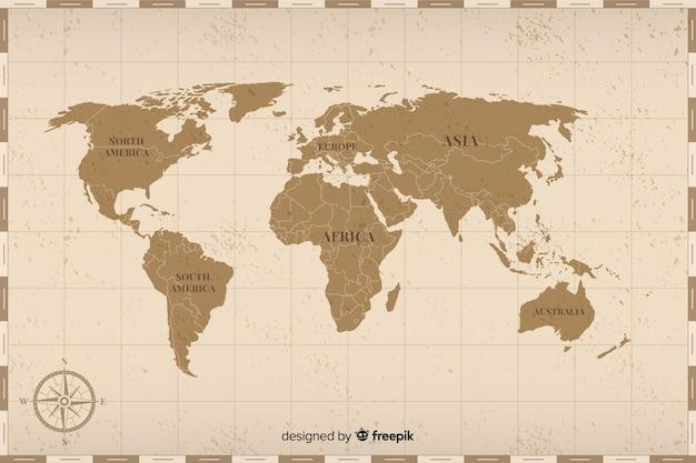 Цветная винтажная карта мира