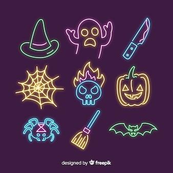 Хэллоуин неоновый знак коллекции элементов