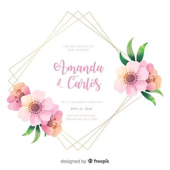 Симпатичная акварель цветочная рамка свадебное приглашение